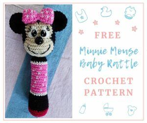 minnie mouse baby rattle crochet pattern by cottonnutty